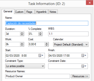 Tarea - WBS Schedule Pro